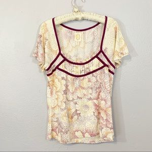 Anthropologie Ric Rac Floral Polka Dot Tunic